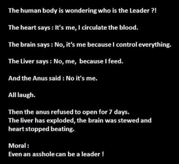 the human body is wondering who is the leader