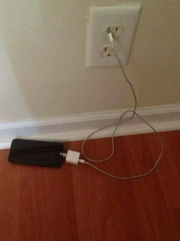 Charging your phone like this.
