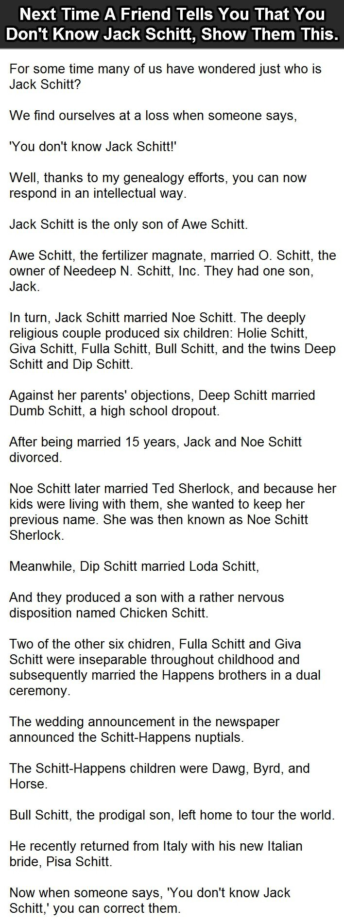 Next time a friend tells you that you dont know jack schitt, show them this