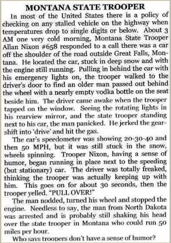 Who says troopers don't have a sense of humor