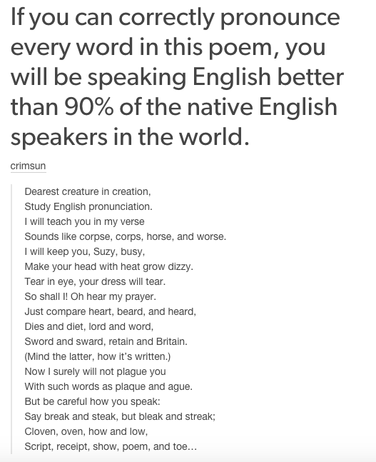 And that no one can really speak English, if you come to think of it.