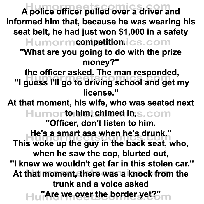A police officer pulled over a guy and rewarded him 1000$ for wearing a seat belt what happened next is shocking