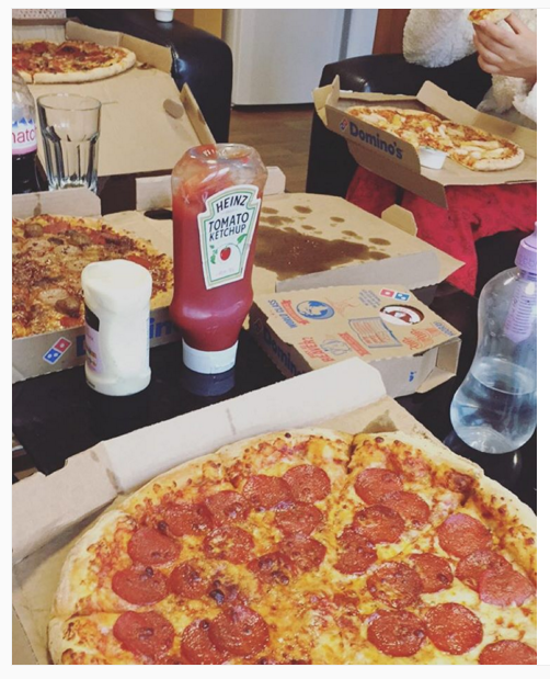 4. Letting everyone know you eat large quantities of pizza and that you're in fact a hungry human…