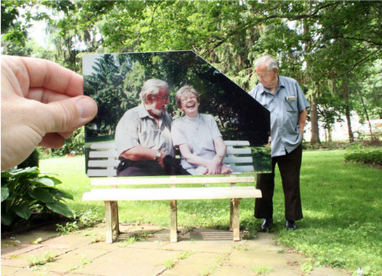 A man looking back on the times he spent with his wife on this bench