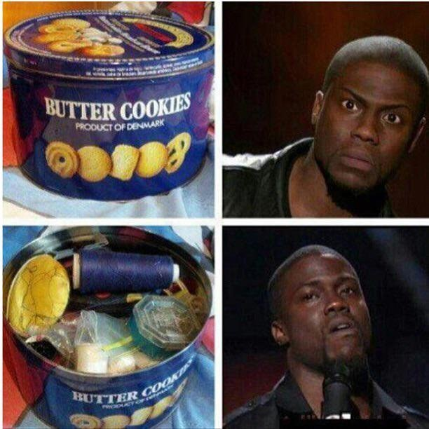 A tin of cookies that was NEVER FULL OF COOKIES