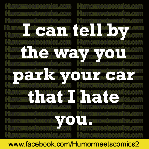 I can tell by the way you park your car that i hate you