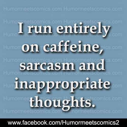 I run entirely on caffein, sarcasm and inappropriate thoughts