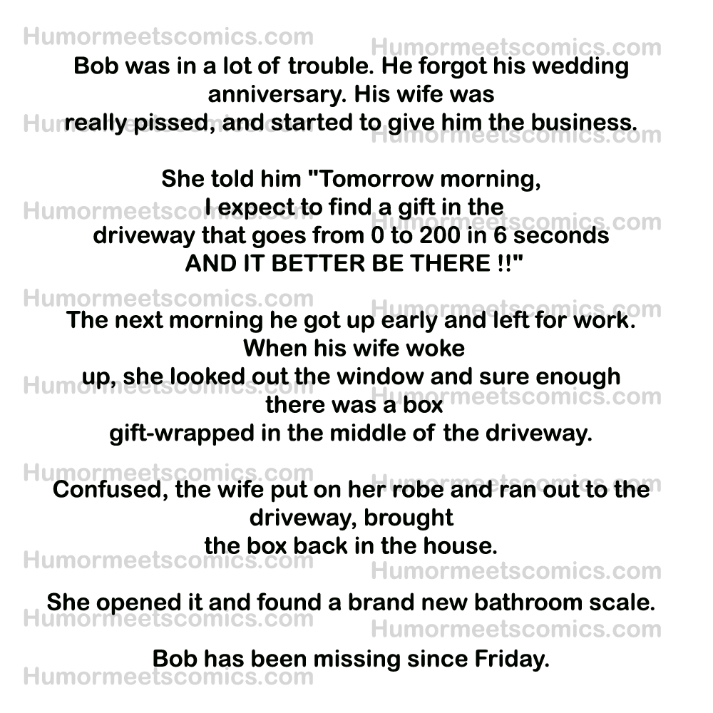 Bob was in hot water. He forgot his wedding anniversary. His wife was really furious.